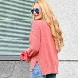 Living Coral Knit Sweater-Sweater-Moda Me Couture