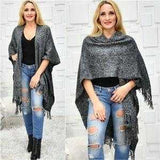 Classic Knit Wrap Shrug Poncho Black And Gray-Sweater-Moda Me Couture ®
