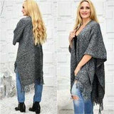Classic Knit Wrap Shrug Poncho Black And Gray-Sweater-Moda Me Couture