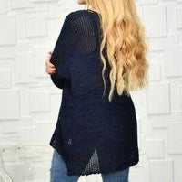 Navy Blue Knit Sweater Top-Sweater-Moda Me Couture