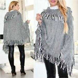 FRINGE DETAILED PONCHO | MODA ME COUTURE