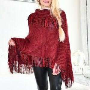 Fringe Detailed Poncho Burgundy-Sweater-Moda Me Couture ®