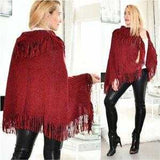 Fringe Detailed Poncho Burgundy-Sweater-Moda Me Couture