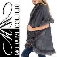 Audrey Gray Classic Cape with Faux Fur Trim | MODA ME COUTURE