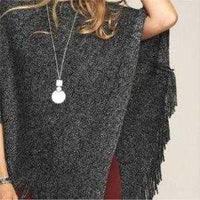 Gray Fringe Detailed Poncho | MODA ME COUTURE