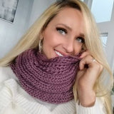 Knitted Infinity Scarf Purple-Accessories-Moda Me Couture