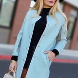 Baby Blue Structured Jacket-Jackets & Coats-Moda Me Couture