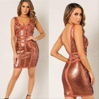 Sequin Bandage Mini Dress-Dress-Moda Me Couture