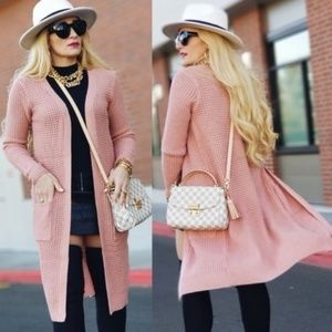 EMILINE Pink Knit Cardigan-Sweater-Moda Me Couture