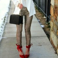 Champagne Glitter Sequin Skinny Pants-Pants-Moda Me Couture