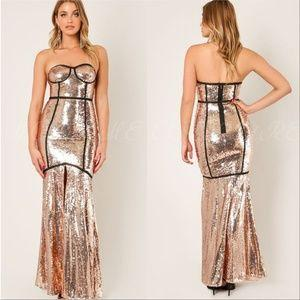 Gold Sequin Gown Maxi Dress-Dress-Moda Me Couture ®