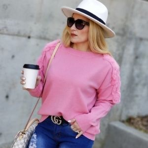 ARISTA Pink Soft Sweater Top-Tops-Moda Me Couture