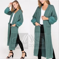 Minty Cardigan with Fur Detail-Sweater-Moda Me Couture