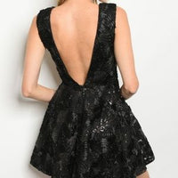 Holiday Party Black Mini Dress-Dress-Moda Me Couture