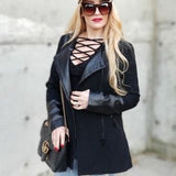 Modern Leather Accented Jacket-Jackets & Coats-Moda Me Couture
