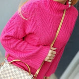 Bubblegum Drop Pink Cable Knit Sweater-Sweater-Moda Me Couture