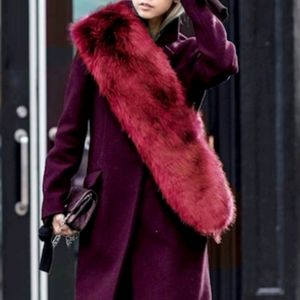 Burgundy Faux Fur Scarf