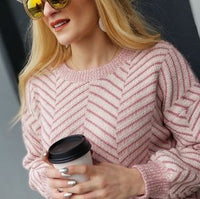 Sweetest Delight Chevron Chenille Sweater - Pink-Sweater-Moda Me Couture