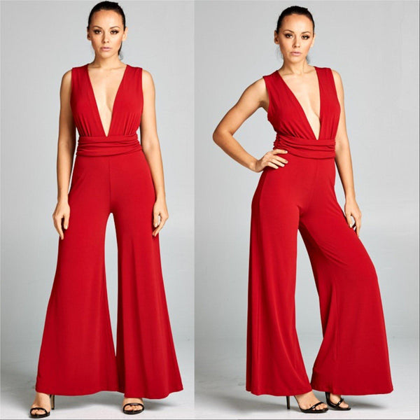 STELLA Red Jumpsuit-Pants-Moda Me Couture