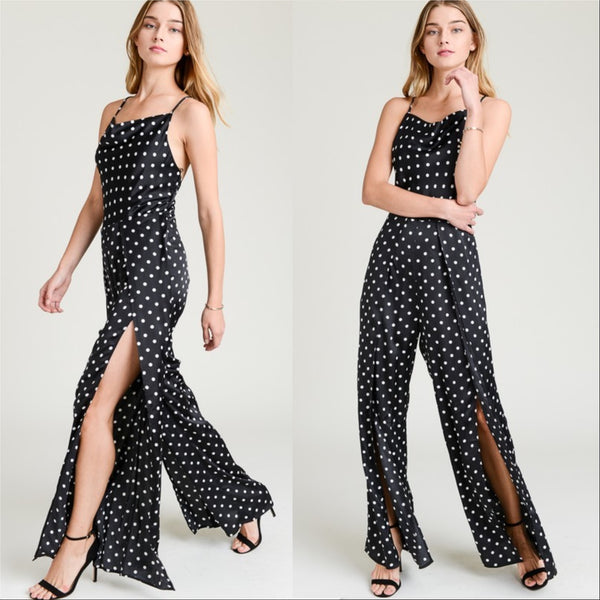 Christy Polka-Dot Jumpsuit-Pants-Moda Me Couture
