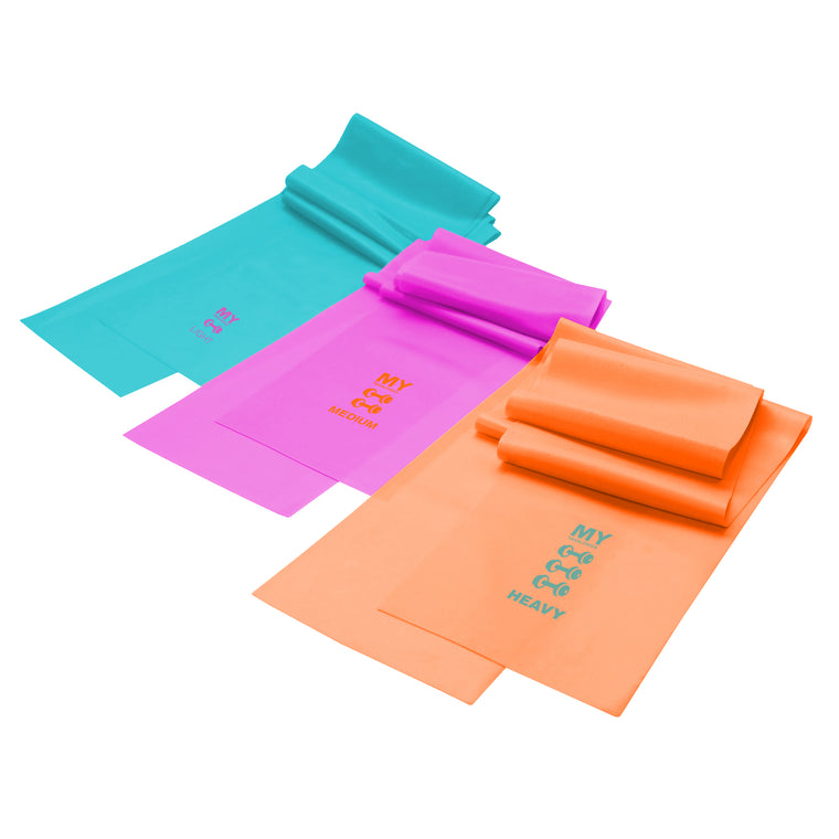 SET OF 3 RESISTANCE BANDS - TEAL, PINK, ORANGE