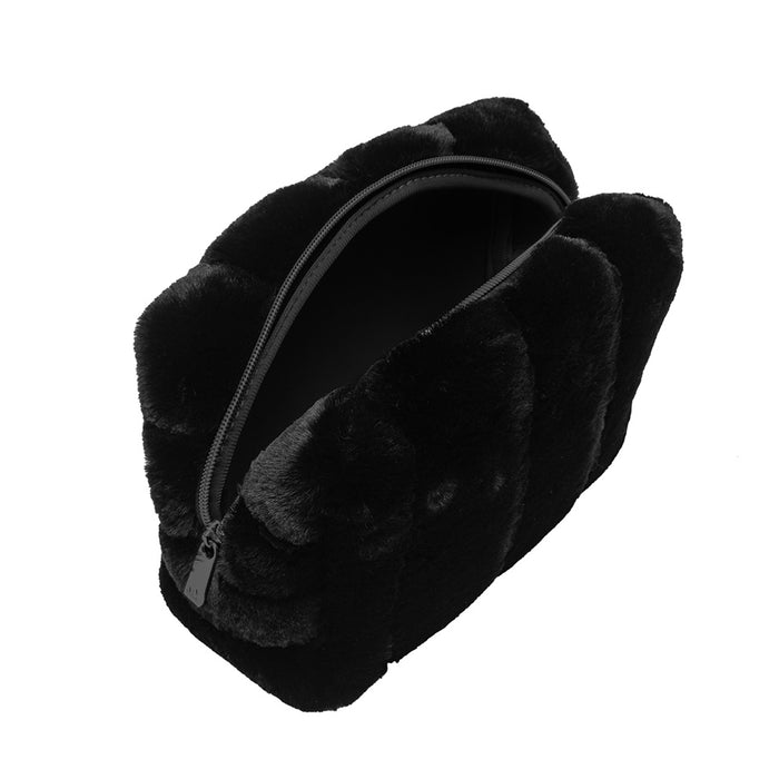 COSMETIC POUCH - MINX BLACK (faux fur)