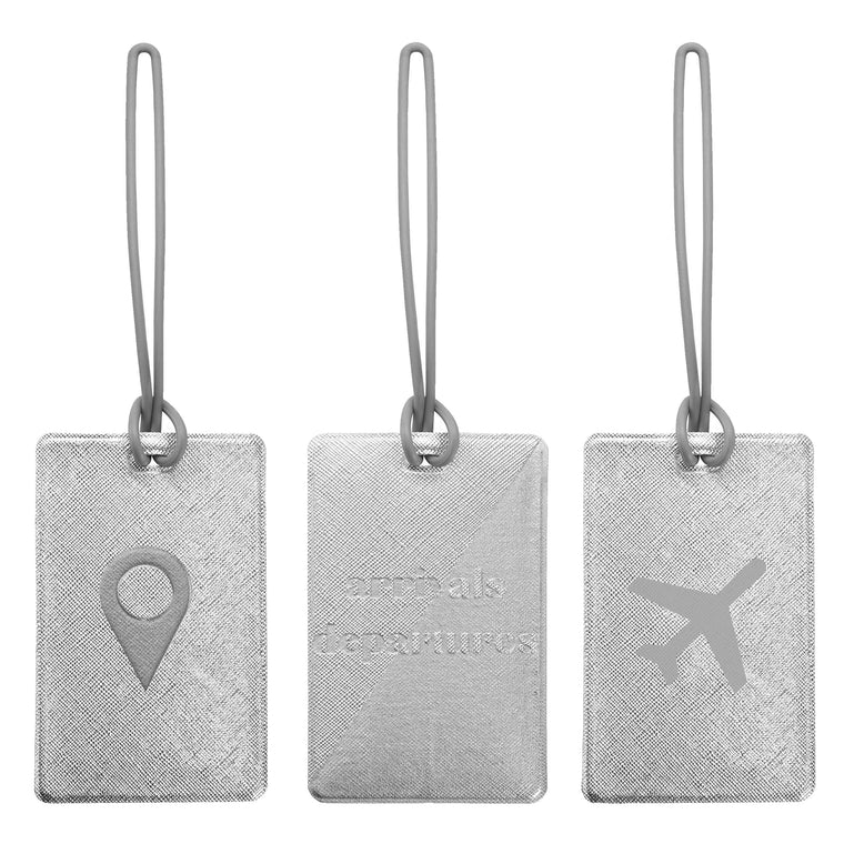 SET OF 3 LUGGAGE TAGS - ODYSSEY SILVER