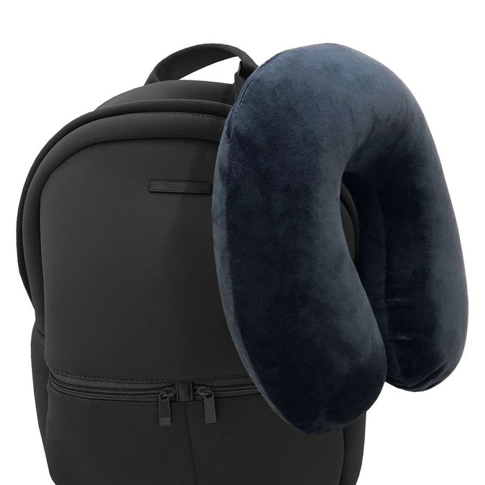 NECK PILLOW - BLACK VELOUR MEMORY FOAM