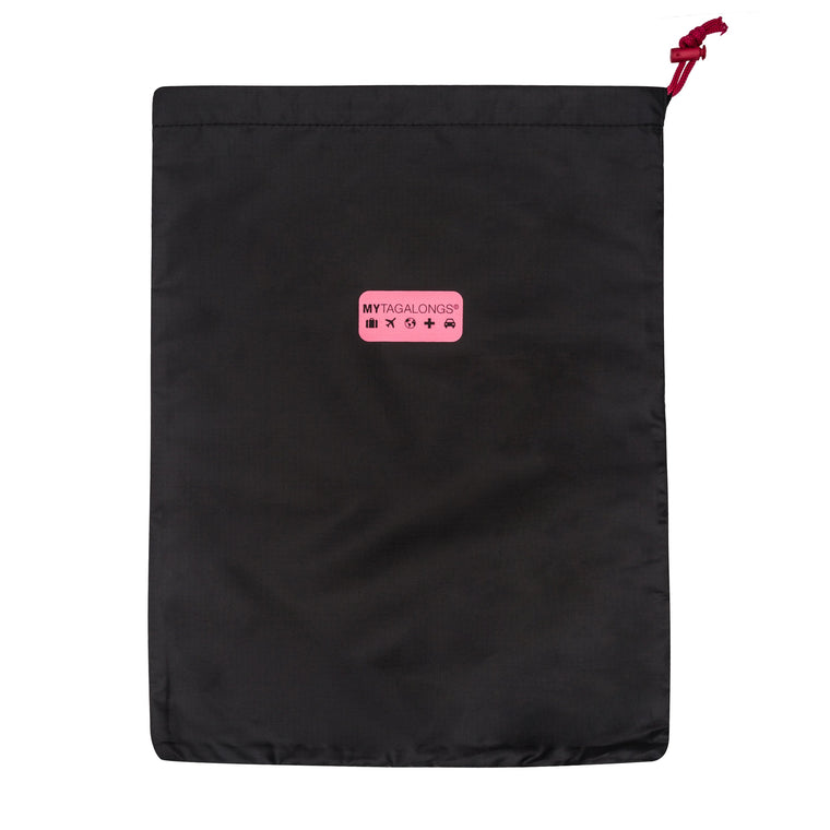 SET OF 2 DRAWSTRING BAGS - BLACK/PINK