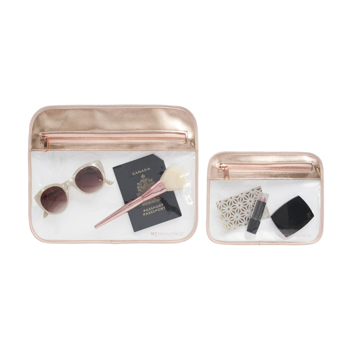 SET OF 2 SPLASH PROOF POUCHES - ODYSSEY ROSE GOLD