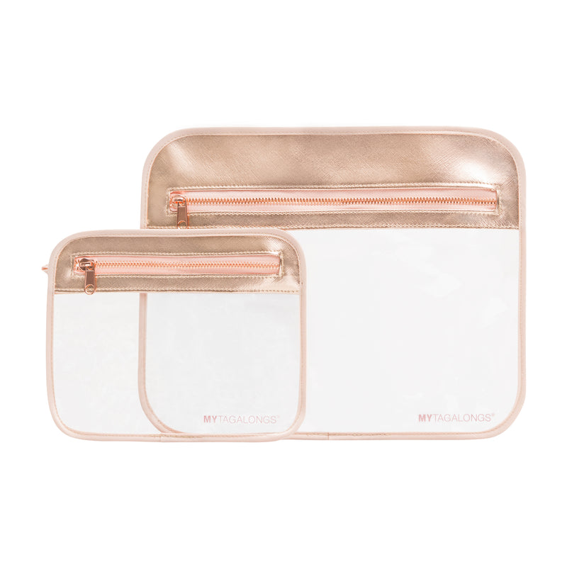 SET OF 2 SPLASH PROOF POUCHES - ROSE GOLD