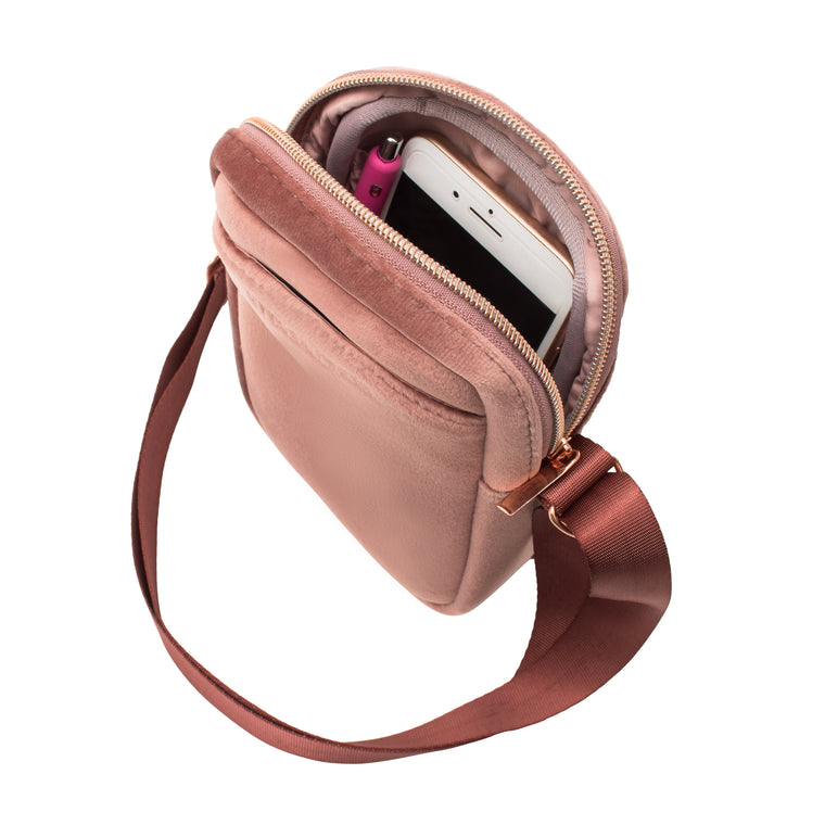 MINI CROSS BODY - VIXEN ROSE (velour finish)
