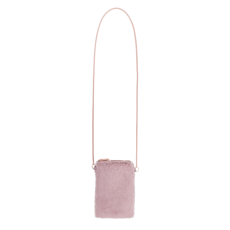 CELL PHONE CROSS BODY - FAUX PAS BLUSH (faux fur)