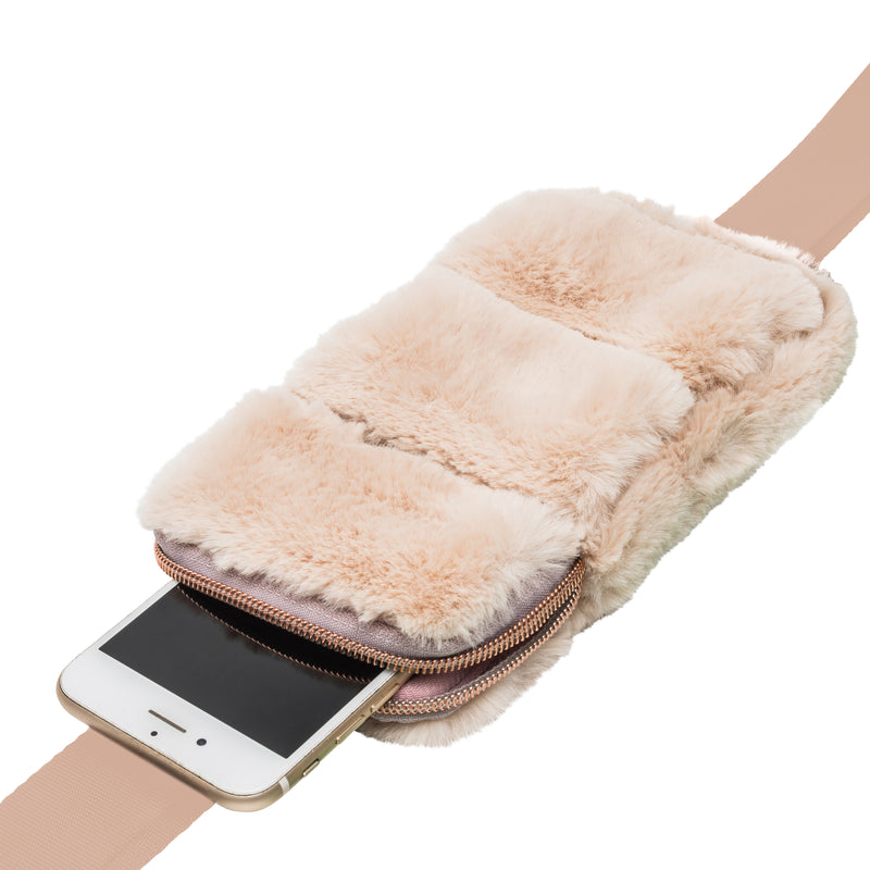 PHONE SLING CROSS BODY - MINX CREAM (faux fur)