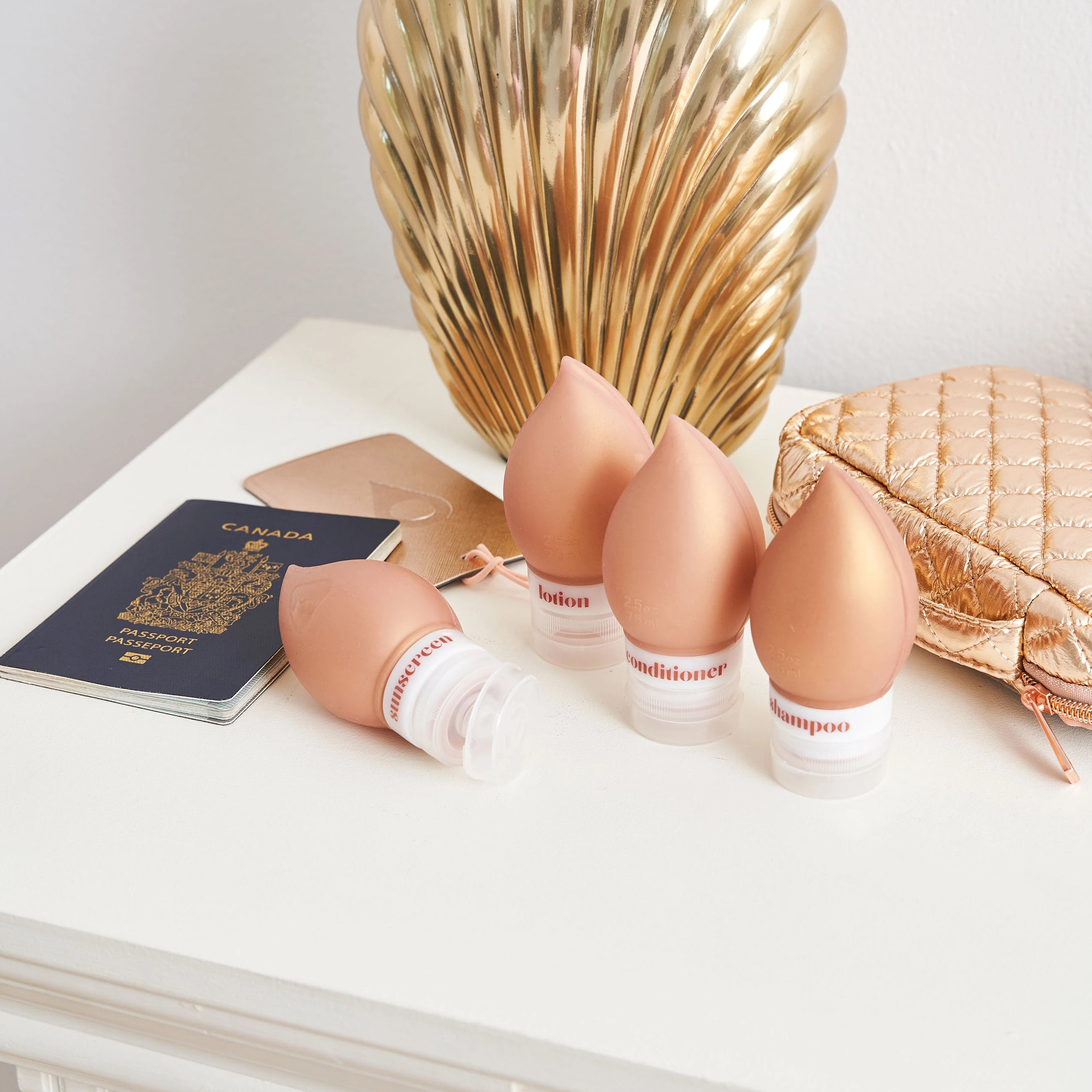 SILICONE TRAVEL BOTTLES - ODYSSEY ROSE GOLD