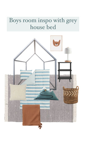 Boys Room Inspo with Grey House Bed