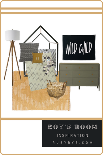 Boys Room Inspo with Black House Bed