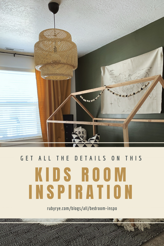 Kids room with green accent wall