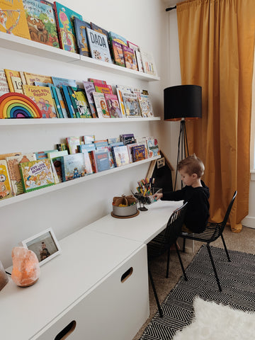 Kids desk with book ledge wall
