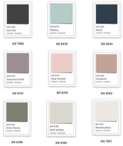 Sherwin Williams Paint Color Palette
