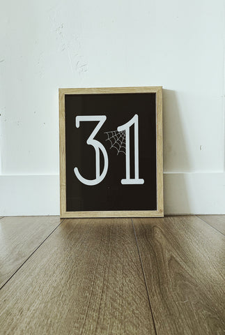 Number 31 Black and White Printable