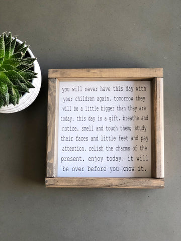 Enjoy Today Small Wood Framed Sign