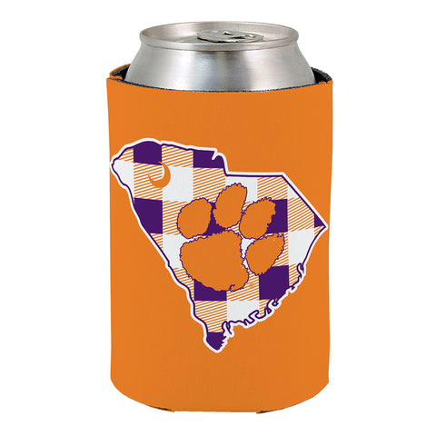 Clemson Plaid Revesible Koozie