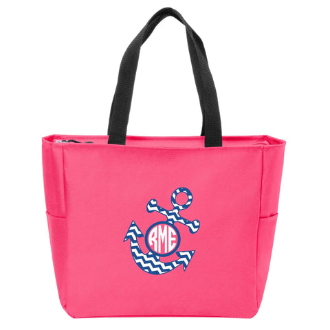 Anchor Chevron Monogrammed Zip Tote