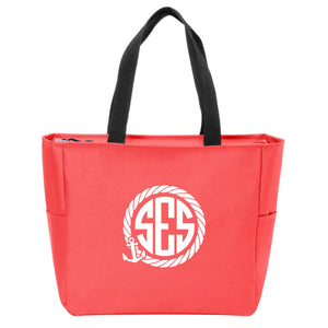 Anchor Rope Monogrammed Zip Tote