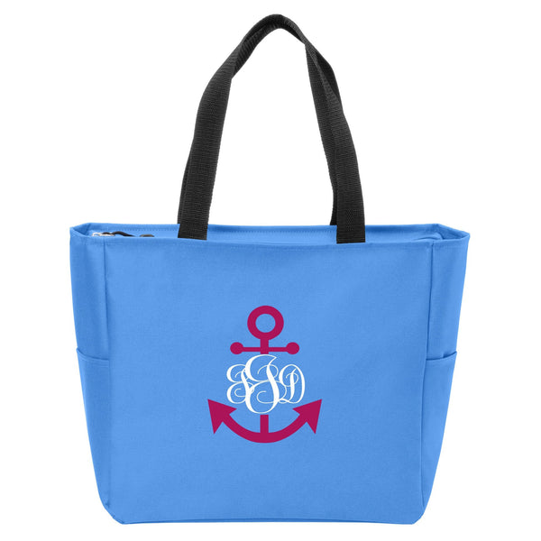 Anchor Monogrammed Zip Tote