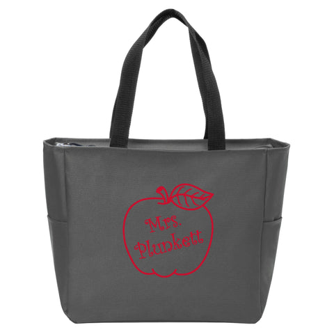 Apple Monogrammed Zip Tote