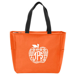 Aztec Apple Monogrammed Zip Tote