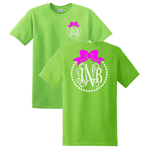 Bow and Pearls Monogrammed T-Shirt