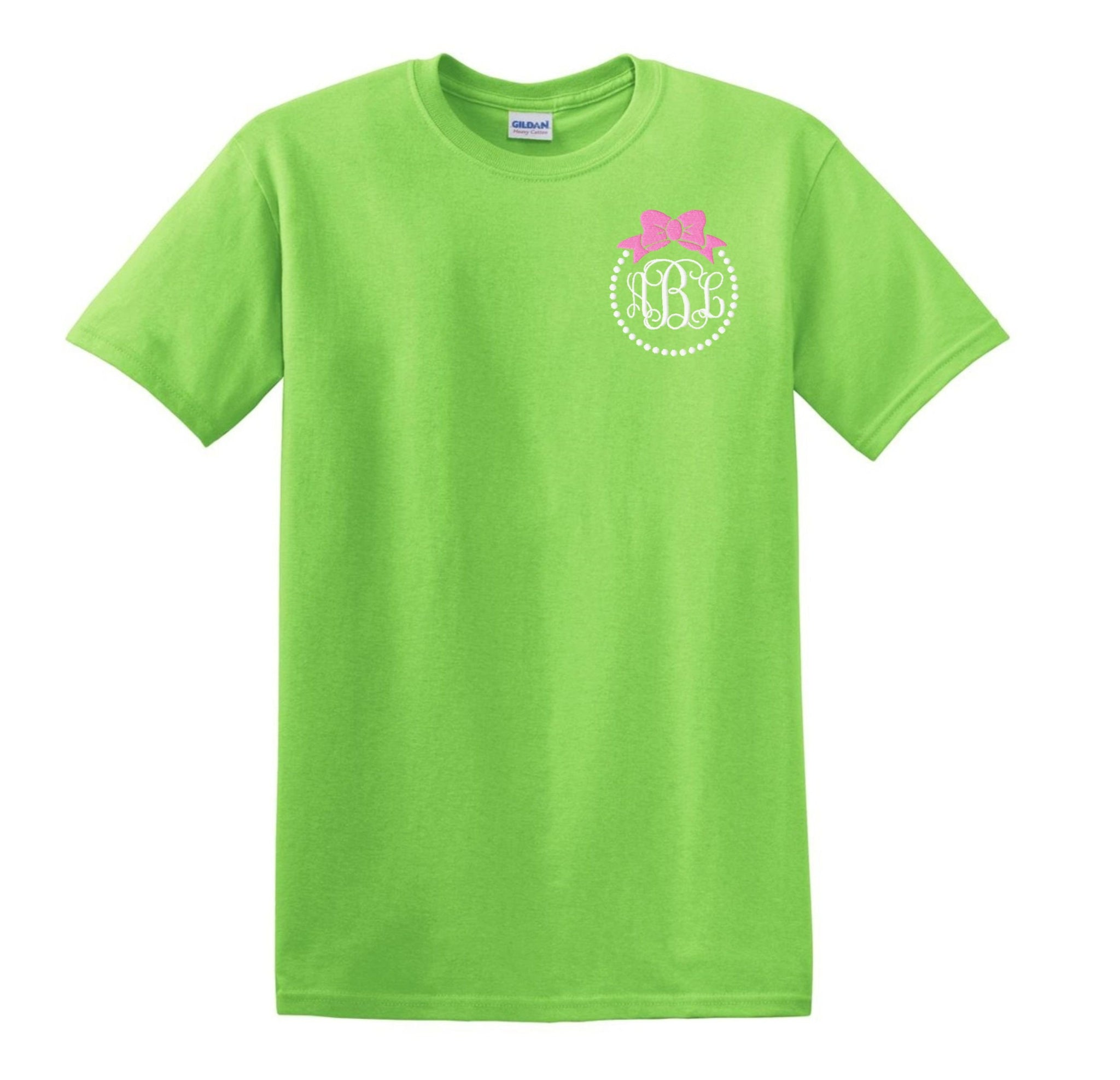 Bow and Pearls Embroidered Monogrammed T-Shirt